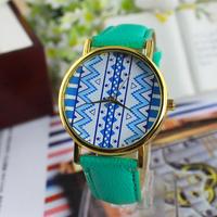 12 colors New Fashion Lattice printed Leather GENEVA Watch For Women Dress Watch Quartz Watches