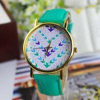 13 colors New Fashion Arrow printed Leather GENEVA Watch For Women Dress Watch Quartz Watches