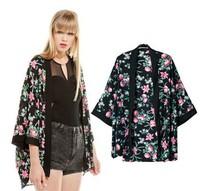 Free shiping 2014 spring and summer new European style  Japanese kimono -style jacket retro jacket sleeve loose cardigan women