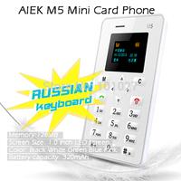 ( Russian Keyboard ) Original AIEK M5 Card Mobile Phone 4.5mm Ultra Thin Pocket Mini Phone Quad Band AEKU M5 Card phone FM