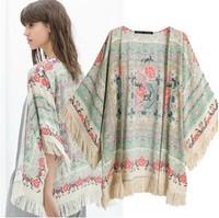 Free shiping 2014 spring and summer new European style  fringed shawl printed kimono print cardigan jacket women