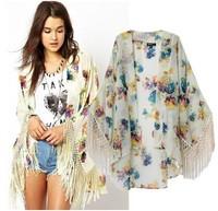 2014 spring and summer new European style fringed cape cardigan Printed kimono jacket women jacket
