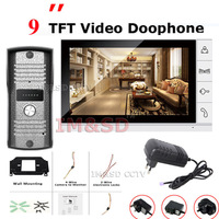 New Arrival TFT Monitor LCD Color 9 inch LCD Video Door Phone Doorbell Night Version Intercom Home Security Video system