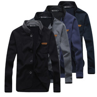2014 free shipping winter new solid color brief ! leather brief stand collar men's clothing sweatshirt slim cardigan