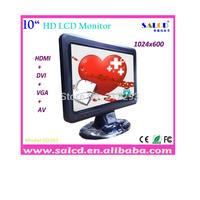 "10"" dvi monitor hdmi /AV/ DVI/Audio with 16:9 wide TFT LED 1024x600 HD Display+free shipping!"
