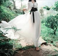 2014 summer long dress fashion women's lantern sleeve chiffon ruffle dress three quarter sleeve floor length dress plus size