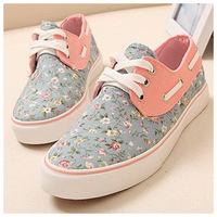 women canvas, Floral Low Top Designs Lace Up Platform Canvas Shoes Women Sneaker ,white blue, L0780