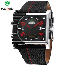 Reloj militar WEIDE 3ATM hombres luminosos de deportes Dual Time Digital Quartz LED alarma de día semana correa de cuero reloj de pulsera para hombre