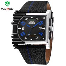 Moda WEIDE Mens relojes deportivos LED luminoso analógico Digital Dual Time fecha alarma de la semana de múltiples funciones Casual cuarzo reloj de pulsera