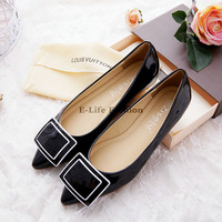 2014 NEW Leather Women Shoes For Lady Fashion Flat shoes Black & White 166-13