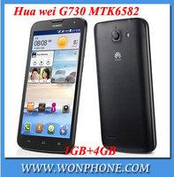 "origina lHuawei phone 5.5"" huawei G730 MTK6582 quad core 1GB RAM 4GB ROM 5.0MP dual camera android 4.2 3G WCDMA smart phone"