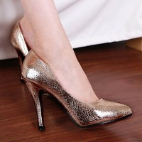 Free shipping Fashion lady's Sexy High thin Heels shoes pointed Toe sweetness High Heels Wedding shoes gold , silver 3 colors