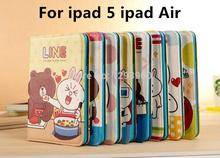 cute LINE Cartoon Stand PU Leather Smart Case For Apple iPad case for ipad air ipad 5(China (Mainland))