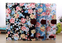 For ipad5  Elegant  Flower Print  Fabric + PU leather Card Holder Stand Magnet Case Cover For Apple ipad 5 ipad air Protection