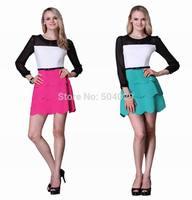 Girls Contrast Color Patchwork Full Sleeve Cascading Ruffle Mini Dress Fashion Office Ladies Work Dress Women Preppy Style Dress