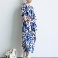 2015 Spring Casual Dress Women's Blue and White Porcelain Vintage Print Long Loose Casual Linen Dress Autumn Dresses Maxi Dress