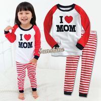 Retail Dropshipping 2014 new 100% cotton baby pajamas of the children I Love Mom Dad pyjamas kids 2pcs suits B003 SV003949