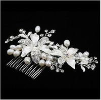 2PCS New Arrival Rhinestone Elegant Flower Fashion Wedding Hair Combs With Pearl / Bridal Hair Combs 11x9.5cm