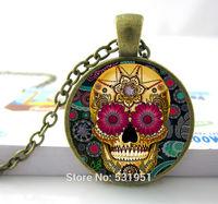 Hot Sale Glass Dome Jewelry -Cross Skull Necklace Sugar Skulls Necklace Pendants Skull Necklace For Men/ Women