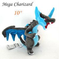One Piece Anime Pokemon X Y Mega Charizard Blue Fire Dragon Soft Plush Toys Stuffed Animal Doll Cartoon Figure 26*21cm Kids Gift