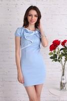 Top Sale New Summer Elegant Women's Slim Bubble Short Sleeve Package Hip Dress Mini Sexy Pencil Evening Party Dress B16 17951