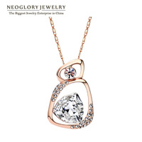 Neoglory Rose Gold Plated Austria Crystal Fashion & Rhinestone Pendants Necklaces for Women Jewelry Accessories 2014 New Arrival