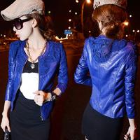 2014 Autumn Winter Ladies Coat  Lace Slim Water Washed Faux Motorcycle Leather Jackets Women Jaqueta De Couro Feminina WWP038