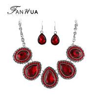 Multicolor Water Drop Shape Rinestone Choker Necklace and Drop Earrings Luxury Designer Jewelry Set for Women