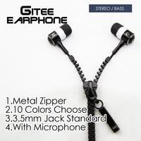 Hot Sales Stereo Bass Earphone In Ear Metal Zipper 10 Color Headphones With MIC 3.5mm Jack Standard Retail Box Earphone