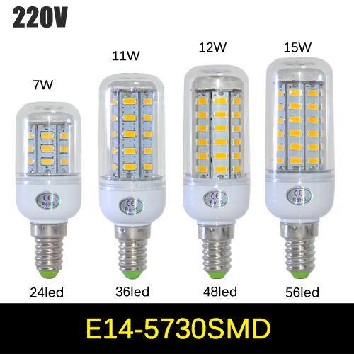 1Pcs SMD 5730 E14 LED lamp 7W 11W 12W 15W AC 220V Ultra Bright 5730SMD LED Corn Bulb light Chandelier 24LED,36LED,48LED,56LED(China (Mainland))