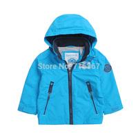 Free Shipping - kids/boys bright blue hooded jacket, boys winderproof / waterproof jacket, Size 92 to 128(MOQ: 1 set)