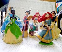 6pcs/pack Disny Princess Action Figure Toys Snow White/Merida/Mulan/Tiana/Ariel/Cinderella 9cm PVC Mini Figure Toy For Children