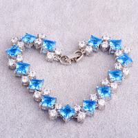 Wholesale Fashion 925 Silver Lady's Party's Twinkling Princess Cut Blue Topaz & White Topaz 925 Silver Bracelets