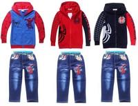 1pcs Retail 2014 Spring Autumn Children's suit,boys Spiderman embroidered suit ,Children's cartoon suits,children clothing set