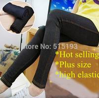Women Plus Size Faux Denim Jeggings Pants Jeans Stretch Capris xxl,3xl Ladies Leggings Blue Black 2014 New  free shipping