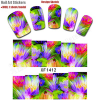 Free Shipping 30 packs/lot Retail Packaging Latest Colorful Flowers Lady Nail Sticker Decoration Water Transfer Nail Art Decals