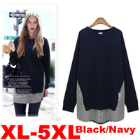 Plus Size 5XL Black/Navy Women's Fashion Cotton Plain Long Bat Sleeve T-Shirts/Top Ladies Large Size Tops for 2014Autumn/Winter