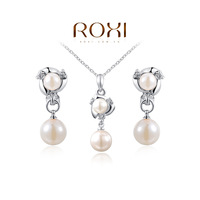 8.19 Sales ROXI Free Shipping Elegant Statement Platinum Plated Pearls Set Fashion Jewelry Earrings+Necklace Wedding
