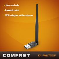 Free shipping 150Mbps RTL8188EUS Mini USB wifi adapter with WPS  one key encryption COMFAST CF-WU755P wifi adapter +5dBi antenna