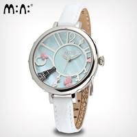 Vogue Girls Clay Eiffel Quartz Watches Natural Shell Dial Women Dress Clock Original Brand Mini Real Leather Wristwatch NW842