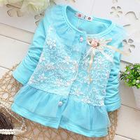New 2014 Girls Coat Flower Lace Children Jacket Baby Girl Cardigan Long Sleeve Kids Fall Clothes Girls Cardigan