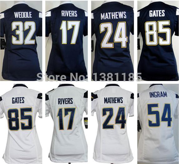 Women's #13 Keenan Allen #17 Philip Rivers Blue White stitched American Football Jerseys Cheap(China (Mainland))
