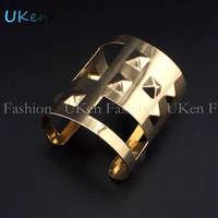 2014 Fashion Geometric Design Raised Rivets Cuff Bangles Punk Bracelets Statement Jewelry Women Wholesale Free Shipping UB216