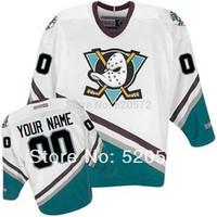 Womens - Custom Mighty Ducks Jerseys - Anaheim Hockey 1996-06 White/Green - Customized Jersey  (XXS-6XL)