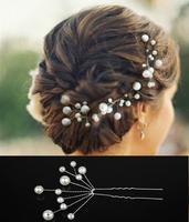 Fashion 10Pcs Wedding Bridal White Pearl Flower Hair Pin Hair Accessory,