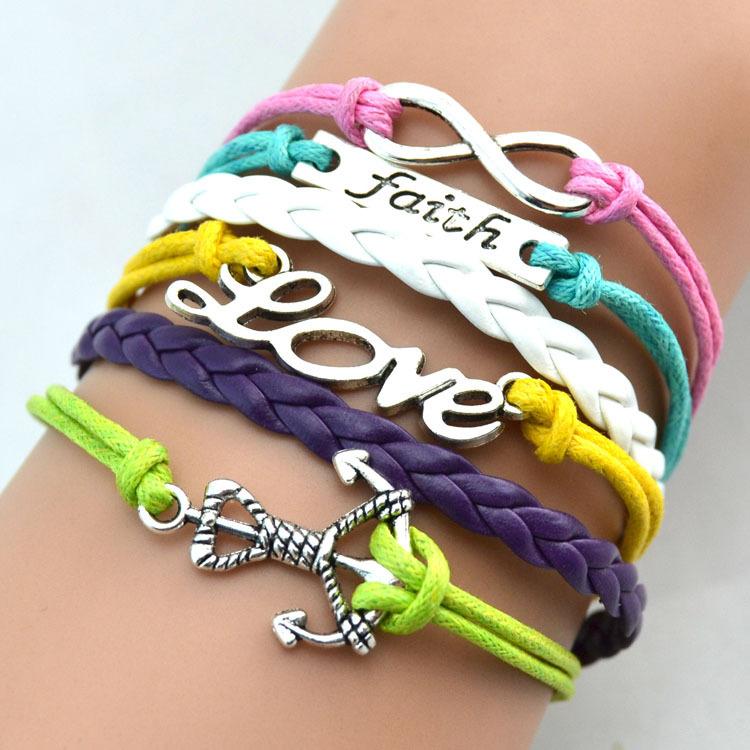 infinity bracelet handmade bracelet faith and love braclet pearl bracelet anchor charm bracelet gift 3086