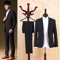 Super fashion men's plaid suit set men blazer slim fit the groom suit&pants quality mens wedding tuxedo suit brand design