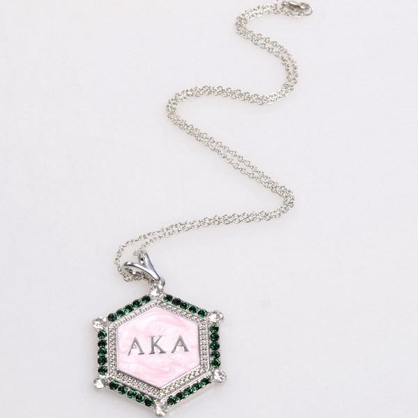 Free Shipping Greece Sorority Jewelry Alpha K Alpha AKA Green Crystal Pink Enamel AKA Pendant Necklace Jewelry Necklaces(China (Mainland))