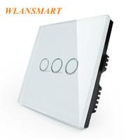 3G2W,Wlansmart,UK Standard,Light Lamps Wall Switch,Touch Toughened glass+LED,110V-240V,Luxury White Crystal Glass Switch Panel