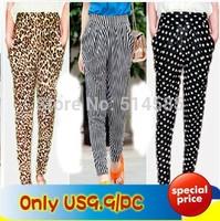 Harem pants women's plus size casual harem pants leopard print polka dot cotton viscose skinny pants